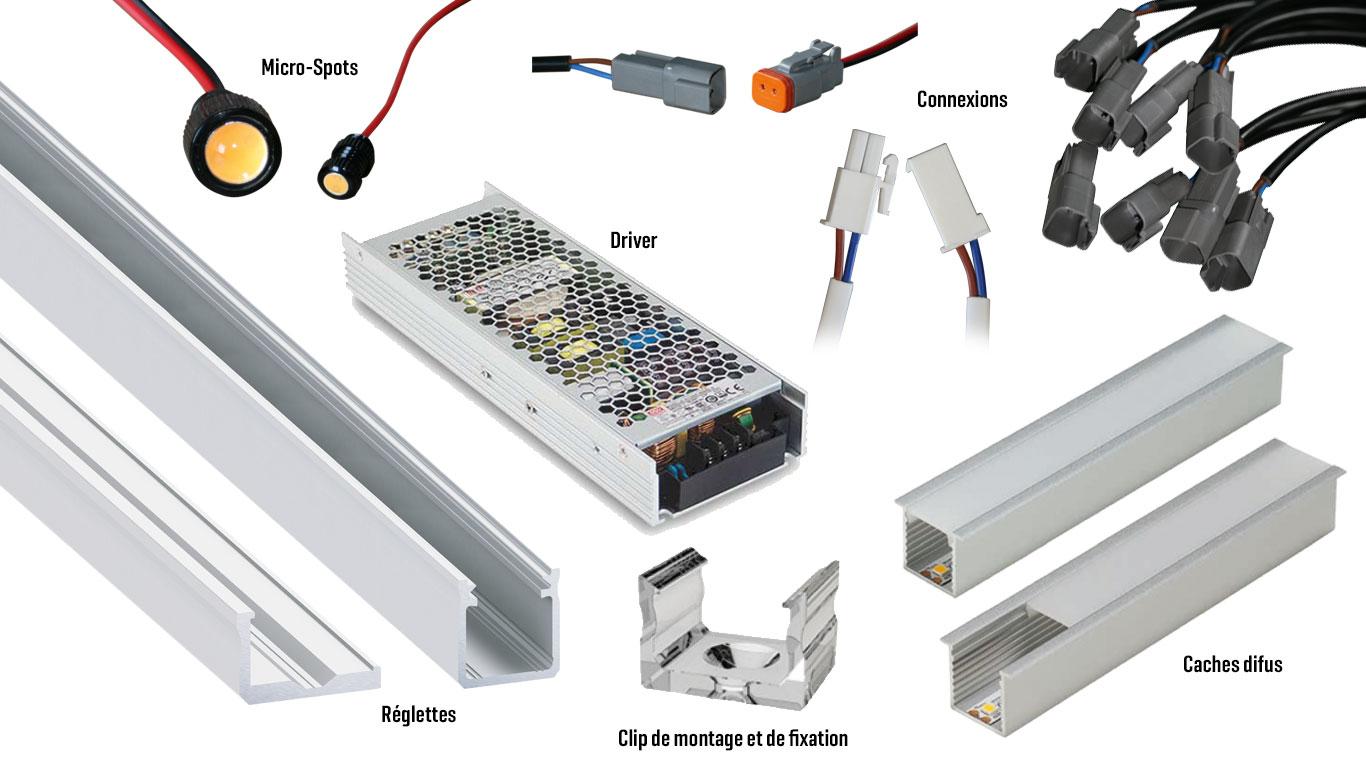 Accessoires (réglettes, profils alu, transfos, drivers, connexions, embouts et capsules de finition, diffuseurs optiques, caches diffus, clips de montage et fixation, Hy-procom, distributeur d'éclairage LED, près de la Roche sur Yon, en Vendée